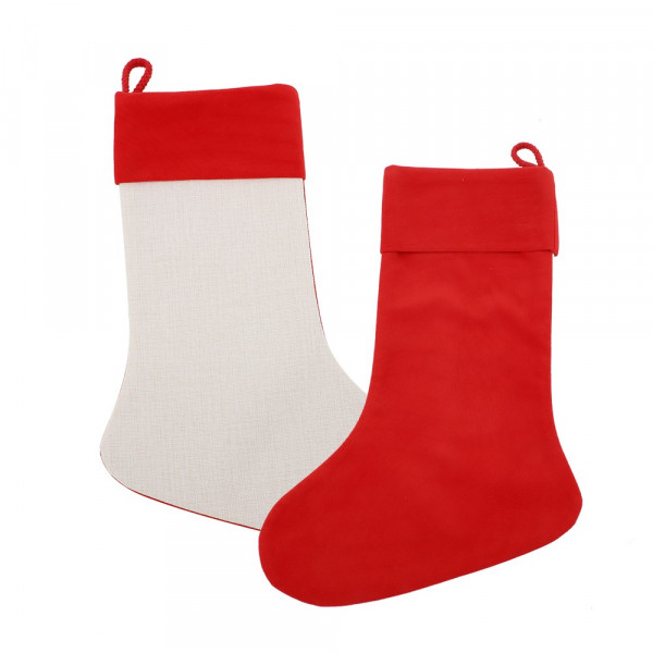 Sublimation Linen Xmas Stocking with Red Cuff - One side Red