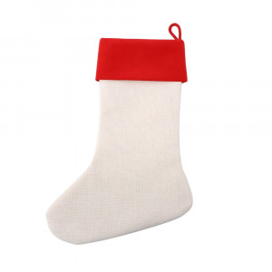 Sublimation Linen Xmas Stocking with Red Cuff