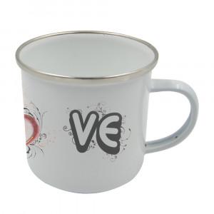 Sublimation Blanks 12oz Enamel Mug - Silver Rim