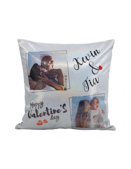 Sublimation Rainbow Glitter Pillow Silver