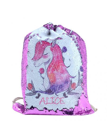 Sublimation Sequin Drawstring Bag - Pink