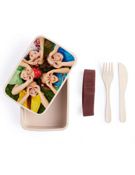 Bamboo lunch box with cutlery - (Pack of 50 u.) for sublimation- Cover sublimate