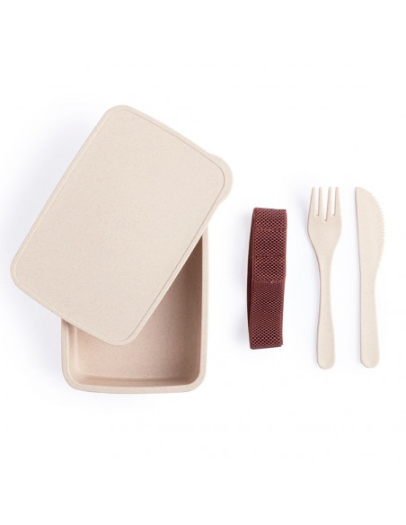 Bamboo lunch box with cutlery - Pack of 50 u.