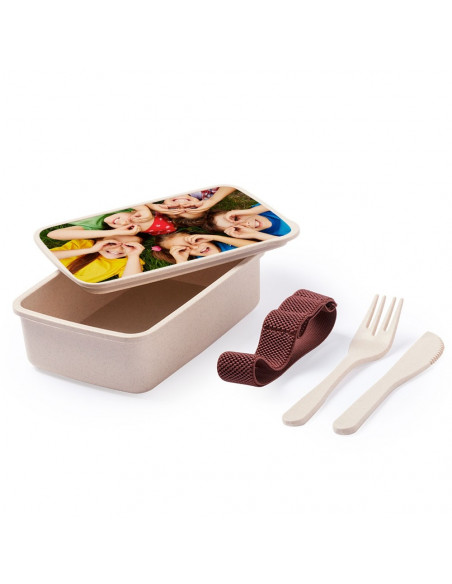 Bamboo lunch box with cutlery - (Pack of 50 u.) for sublimation - open