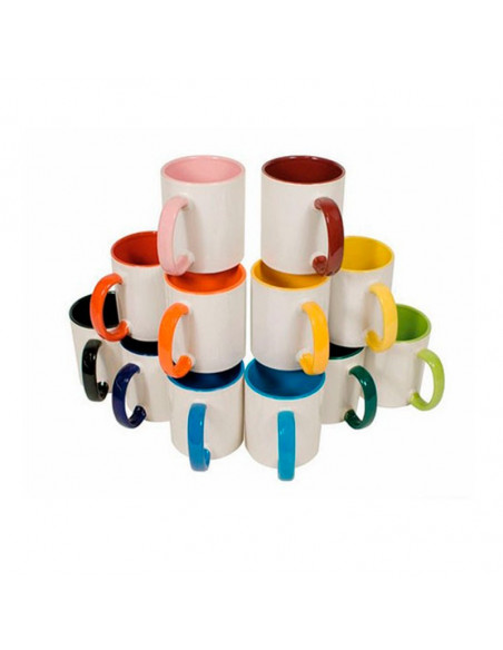 High quality (A) ceramic mug with inside and handle colored - Pack of 864 Pieces